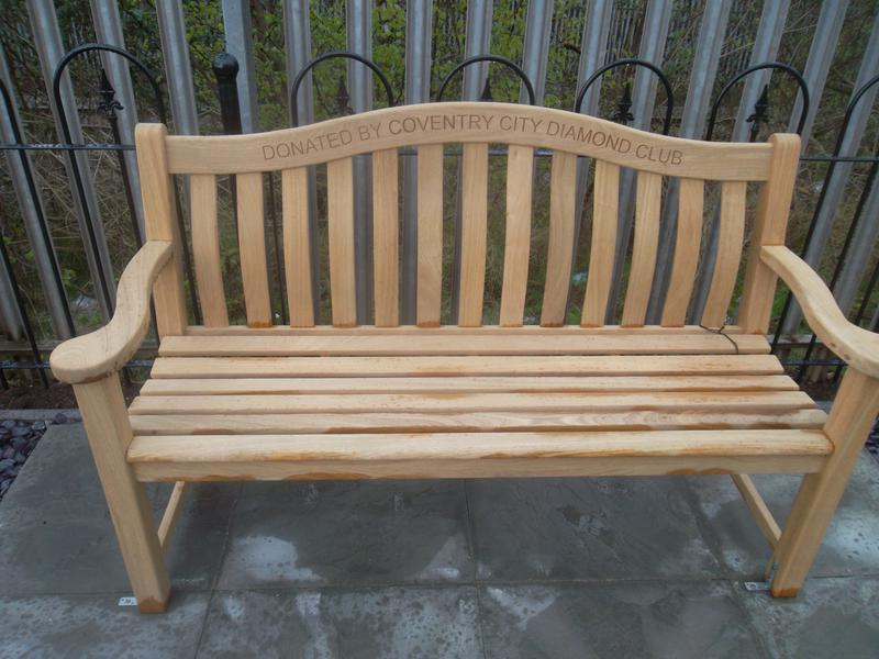 The bench donated by the Coventry City Diamond Club in the Jimmy Hill Memorial Garden